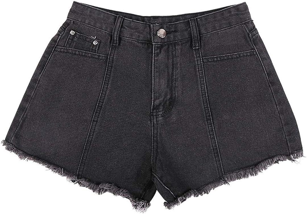 Women Summer Loose Hole Jeans Shorts Vintage Female Wide Leg Denim Shorts