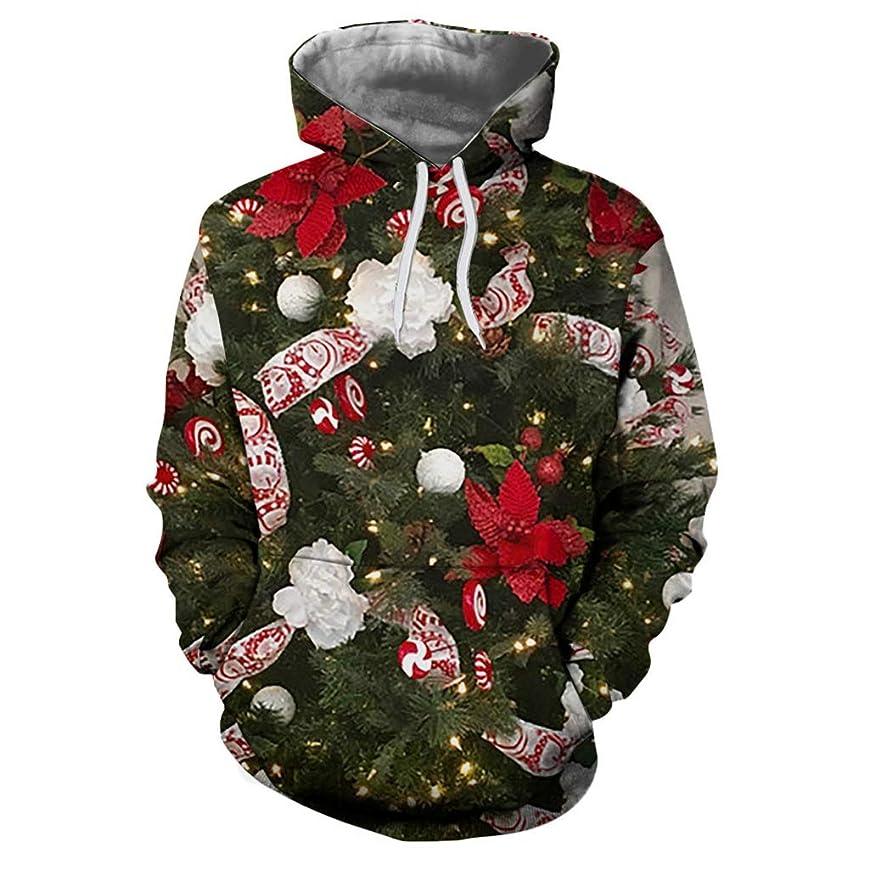 目の前の終わり再編成するスウェットシャツ メンズ クリスマス 秋 大きいサイズ パーカー Duglo 3Dプリント 冬 サンタクロース エルク 個性的 ポケット 帽子 ストリート系 ブラウス 長袖 トップス 運動 おしゃれ Tシャツ 日常 カジュアル ゆったり 春 カットソー 上着