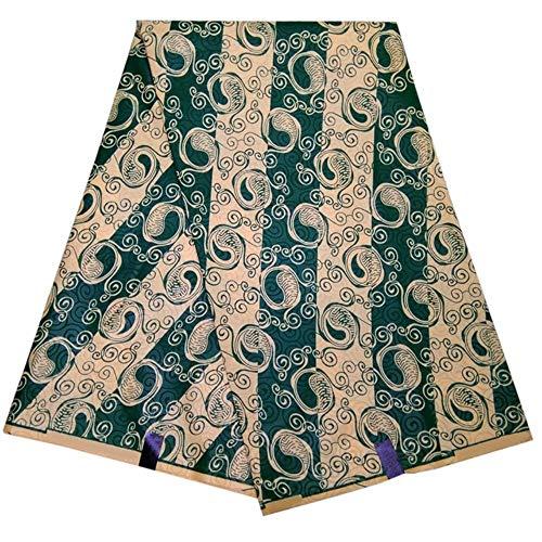 Coner 6 Yards Afrikaanse stof Groene bloemen streepprint Waxstof voor feestjurk, 1 yard, 115 cm