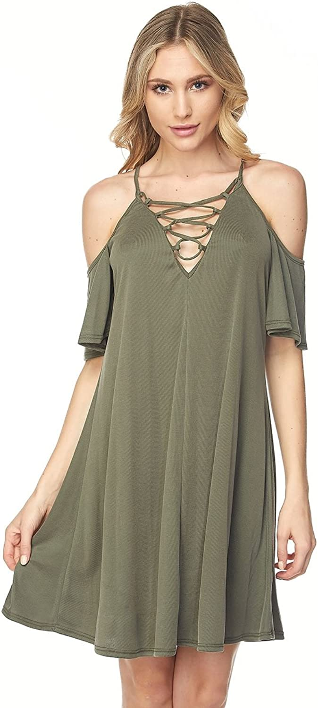 Embrace Women's Sexy Deep V neck lace up Dress Olive