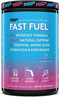 RSP Fast Fuel Pre Workout Powder, Complete Energy, Hydration and Endurance Support, Natural Caffeine, EAAs, Electrolytes, ...