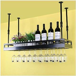 Soporte de Techo de Vidrio para Estante de Vino para Vidrio Colgante de Vidrio Soporte de Botella de Estante para Vino Copas Colgantes montadas en la Pared Altura Ajustable para Barra de Cocina