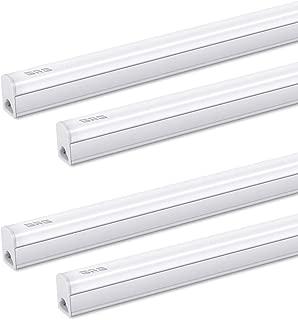 (Pack of 4) GRG LED T5 Integrated Single Fixture, 1Ft 5W 550lm 6500K, Linkable Utility Shop Light, Garage Light, LED Ceiling & Under Cabinet Light, T5 T8 Fluorescent Tube Light Fixture Replacement