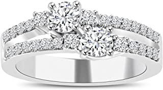 Madina Jewelry 0.75 ct Ladies Round Cut Diamond Anniversary Wedding Band Ring in 14 kt White Gold