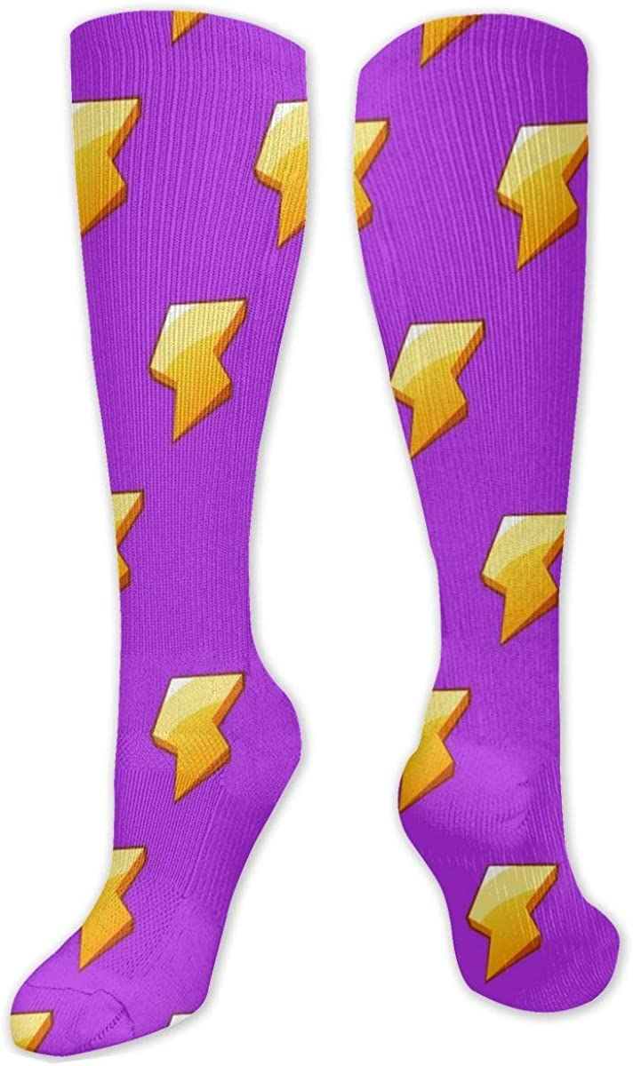 Purple Electric Energy Style Pattern Knee High Socks Leg Warmer Dresses Long Boot Stockings For Womens Cosplay Daily Wear