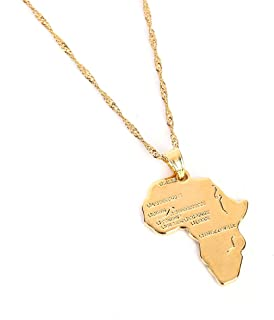 d700753a232746 Big Size Crystal Africa Map Pendant Necklace Women Girl 24K Gold Plated  African Map Hiphop Item