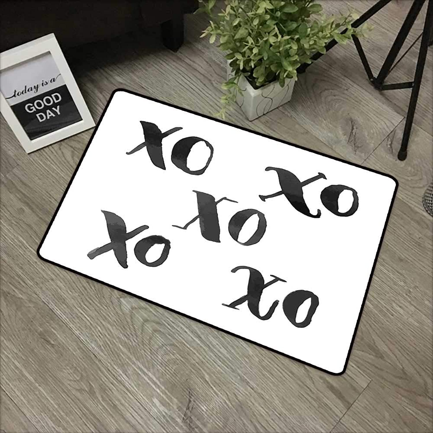 Restaurant mat W35 x L59 INCH Xo Decor,Hugs and Kisses Letters Written Classic Old Fashion Calligraphy Romance Print,Black White with Non-Slip Backing Door Mat Carpet
