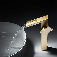 WAZZJ-Waterfall Bathroom Sink Faucet Vanity Single Handle One Hole Basin Modern Lavatory Faucet Commercial Deck Mount (Gol...