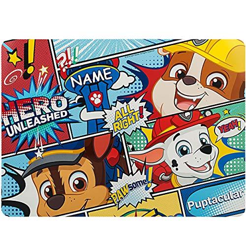 alles-meine.de GmbH 2 Stück _ Unterlagen - Paw Patrol - Hunde - inkl. Name - 42 cm * 30 cm - als Tischunterlagen / Platzdeckchen / Malunterlagen / Knetunterlagen / Eßunterlagen /..