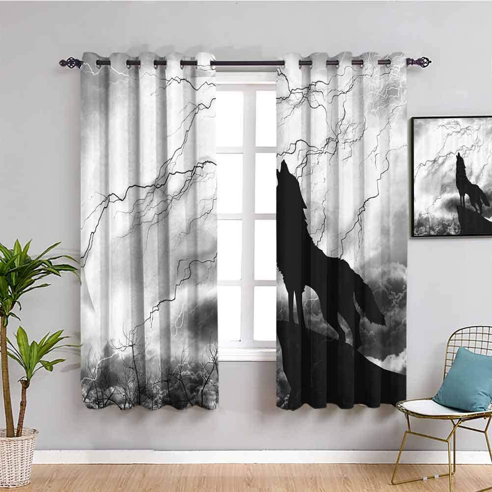 Black Wolf Silhouette Home Decor セール特別価格 Sliding OUTLET SALE Easy Curtains to Door I