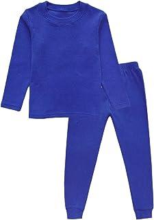 Little Girls Boys Thermal Underwear Long John Set Thermal Breathing Pajama Crewneck Top and Bottom 2PC Set, (3-7yrs)