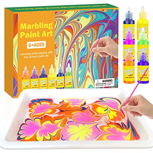 MFJL Marbling Paint Crafts Kit for Kids - Arts and Crafts for Girls & Boys - Ideas Art Kits for Kids Age 3-5 4-8 8-12 (Paint on Water)