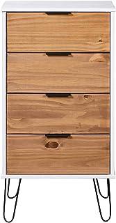 Festnight Armoire à Tiroir Bois Clair et Blanc 45x39,5x90,3 cm Bois de Pin Solide