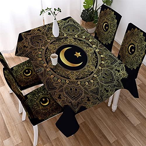 XXDD Simple golden mandala tablecloth star moon waterproof tablecloth decoration restaurant tablecloth table cover A22 140x140cm
