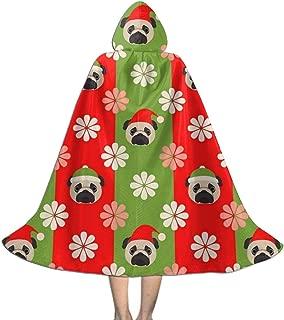 Christmas Cap Floral Pugs Dogs Halloween Christmas Kid Cosplay Hooded Robe Cape Cloak Hoodie Wizard