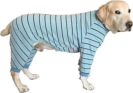 Ropa de perro grande, elástica clásica a rayas para mascotas protege las articulaciones anti-cabello, pijama para perro de cuatro patas para perros ...