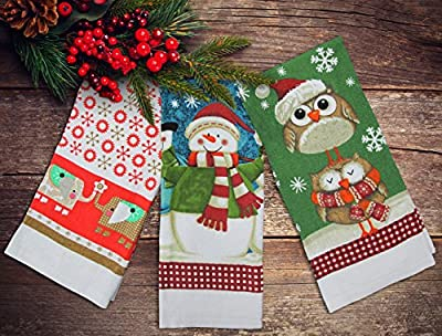 3 Christmas Tea Towels 100% Cotton