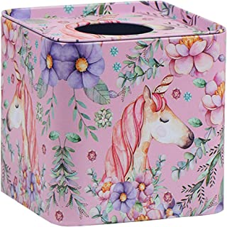 Loghot Metal Square Cute Unicorn Tissue Box Holder Household Paper Roll Cover for Home Office Decor (Pattern B)
