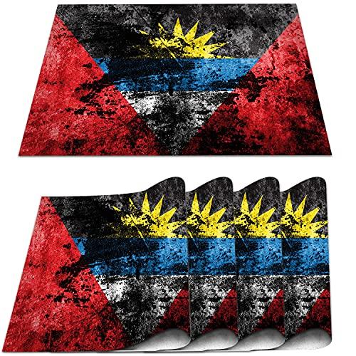 COFEIYISI 4er Set Tischsets,Flagge von Antigua & Barbuda auf schmutzigem Papier Platzmatten Speisetisch Hitzewiderstandsfähig Waschbar für Hause Küche Restaurant & Hotel,30x45cm