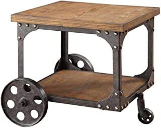 Coaster Home Furnishings End Table with Casters Rustic Brown