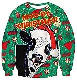 TUONROAD Weihnachtspullover Herren Hässliche Kuh 3D Druck Weihnachten Pullover Unisex Komfortabel Ugly Christmas Sweater Langarmshirt Rundhals Xmas Sweatshirt Jumper - S