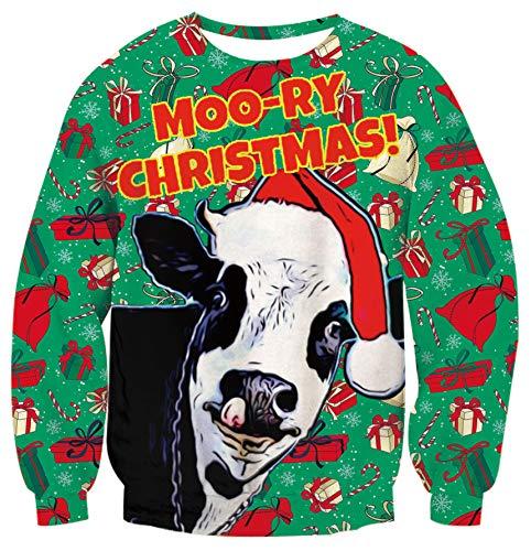 TUONROAD Sudaderas sin Capucha Christmas Unisex Vaca 3D Impreso Ugly Navidad Suéter Jumper Crew Neck Manga Larga Jersey Sweatshirt para Hombres Mujeres - S