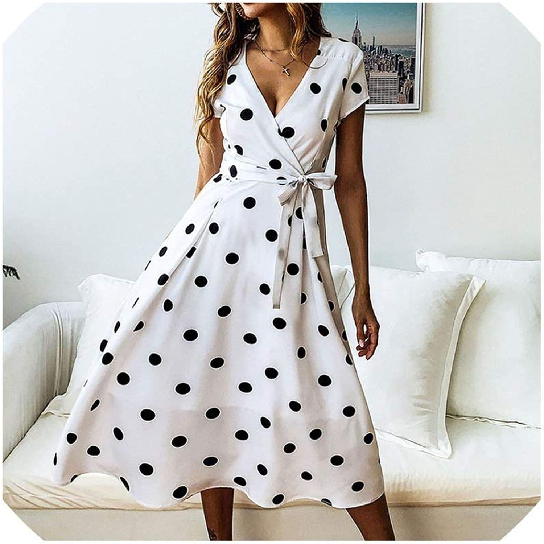 VAOL Polka Dot Print Sundress Strapless Ruffle Sashes Tied Bow ALine Button Backless Beach Dresses