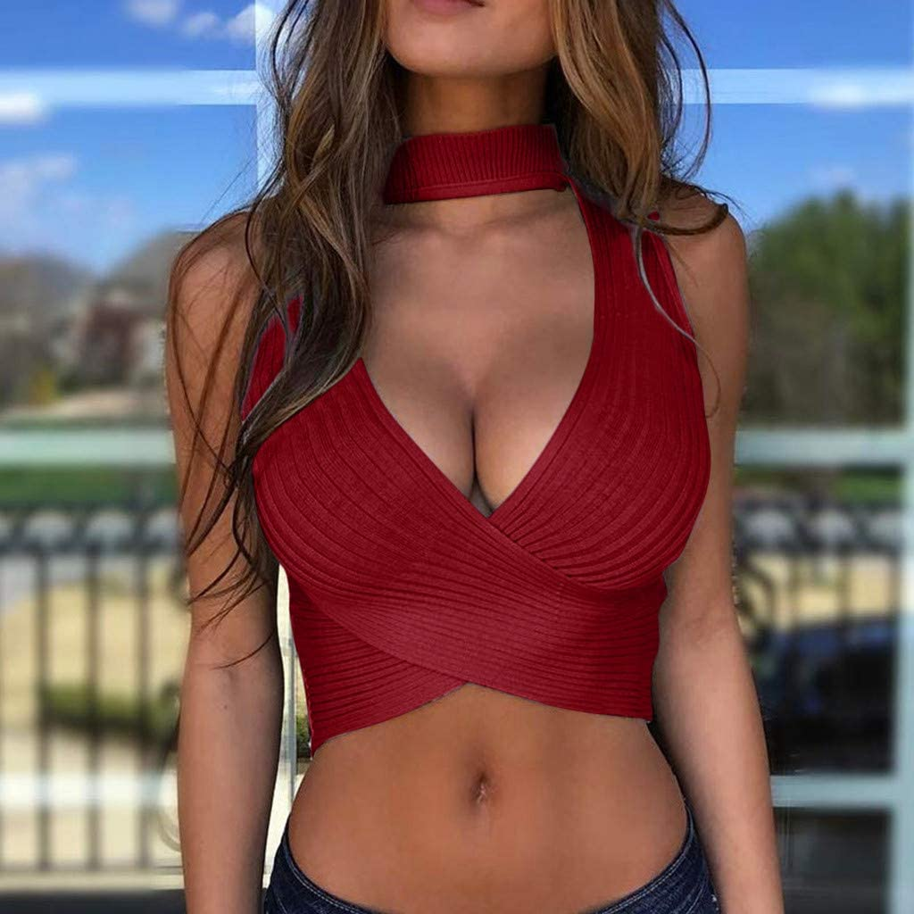 Gloned Women Solid Color Knit Crop Tops Sexy Fashion Deep V-Neck Sleeveless Camisole Tank Tops Summer Streetwear