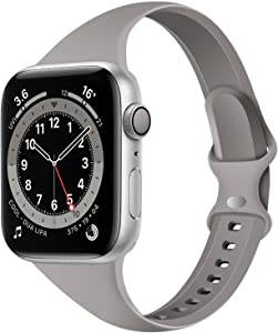 Acrbiutu Bands Compatible with Apple Watch 38mm 40mm, Slim Thin Narrow Replacement Silicone Sport Strap for iWatch SE Series 1/2/3/4/5/6, Rock Gray 38mm/40mm