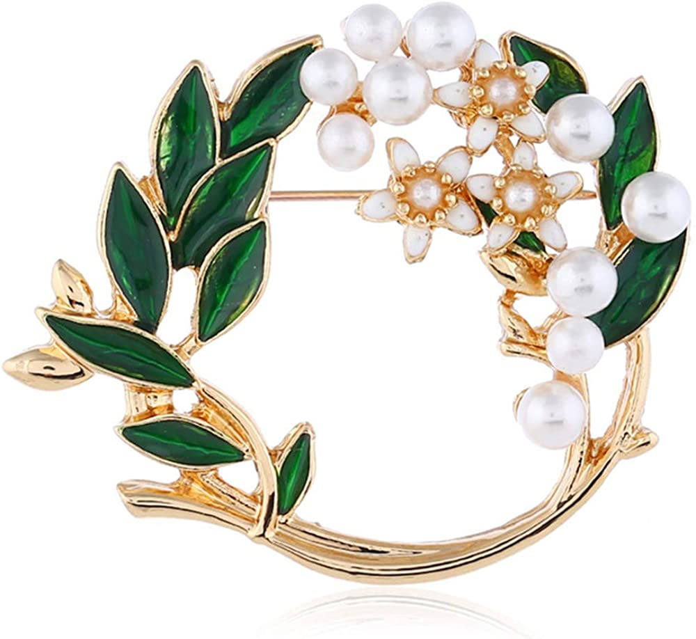 Pearl Flower Import Wreath Brooches for Women Fashi Men Ranking TOP6 Girls Tone Gold