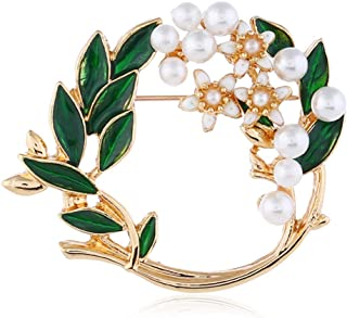 Pearl Flower Wreath Brooches for Women Men Girls Gold Tone Fashion Vintage Green Olive Leaf Hollow Garland Brooch Pins Bow...