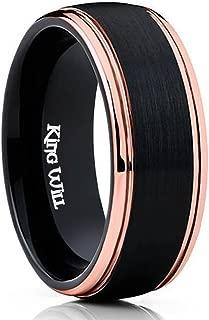 Mens 8MM Black Tungsten Carbide Ring Matte Brushed Wedding Band Rose Gold Plated Beveled Edge