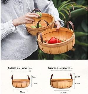 ZFF Pumpkin Wood Storage Basket Hand-Woven Storage Basket Round Pastoral Picnic Basket Storage Basket