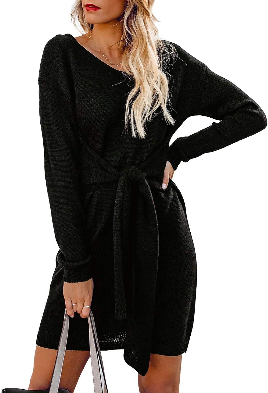 Sidefeel Women Long Sleeve Tie Cheap sale Waist Dr Pencil Ranking TOP6 Knit Sweater Mini