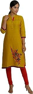 South India SHOPPING MALL Women Gold Solid Cotton Kurti