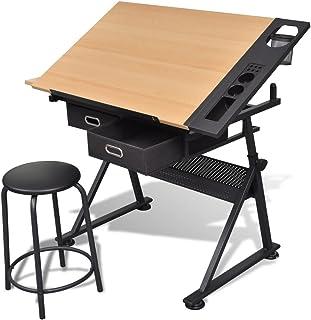 vidaXL Mesa con Tablero Inclinable y Taburete Mueble Oficina