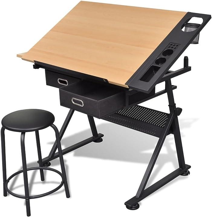 Tavolino da disegno con sgabello vidaxl tavolo inclinabile 2 cassetti ufficio 20087