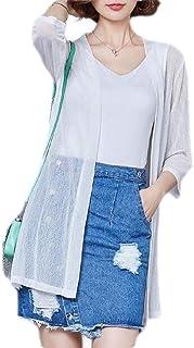 Women's 3/4 Long Sleeve Cardigans Open Front Draped Kimono Loose Cardigan