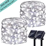 LiyuanQ Upgraded Solar Powered String Lights, 2 Pack 8 Modes 100 LED Solar Fairy Lights Waterproof 33ft Silver Wire Lights Outdoor Garden String Light for Home Patio Yard Party Decoration (Cool White)