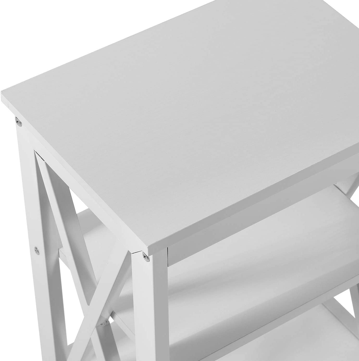 VECELO Bedside Table Set of 2 Nightstand End Side Table with X shaped 3-tier shelves for Livingroom and Bedroom,White