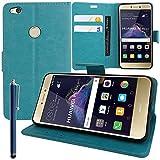 AnnaRT® - Funda tipo libro con tapa y función atril para Huawei P8 Lite (2017) 5.2'/P9 Lite (2017)/Honor 8 Lite/Nova Lite/GR3 (2017) + lápiz capacitivo azul
