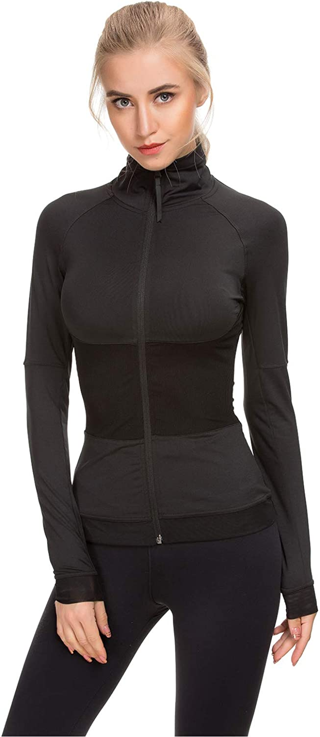 WOSALBA Womens Running Gym Active Yoga Workout Wear Jacket Full Zip Up Stand Collar with Back Pocket