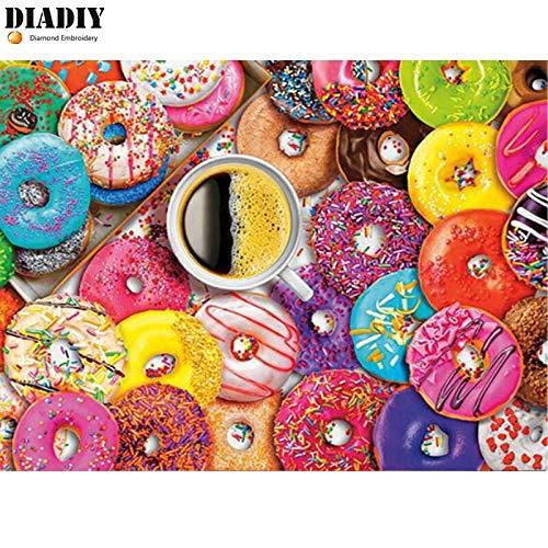 FHGFB 5D DIY Diamant Malerei Lebensmittel und Geschirr Donut Stickerei Bild Kunst Handwerk Kristall Handarbeit Strass Home Wanddekoration Geschenk Quadrat Diamant Rahmenlos -40x50cm
