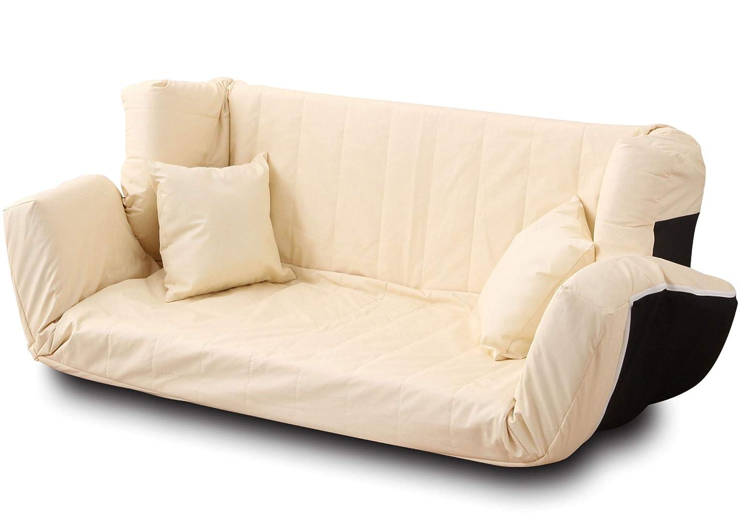 メモインセンティブ費やすエムール 日本製 ソファー 3人掛け 低反発 マルチリクライニングソファ(クッション2個付き) アイボリー(レザー生地)