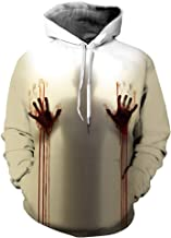 Leezeshaw 3D Halloween Themed Skull Prints Pullover Hoodies Breathable Patterned Jumpers Hooded Sweatshirt Pockets Mens Womens
