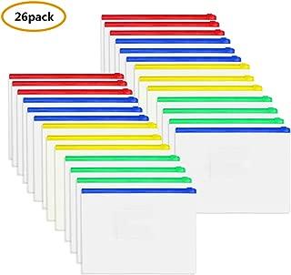 Zipper Pouch Document Bag, 26 Pcs Zip File Folders, PVC Waterproof Zip Document Filing Folder with 4 Colors, A4 Size/US Letter Size