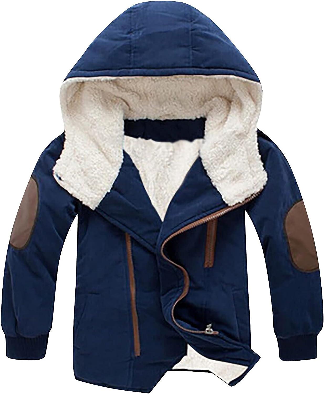 Boys Cotton-padded With Thick Fleece Elegant Hooded trust Mid-length Cotton Ja