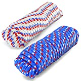 """Diamond Braid 3/4"""" X 50 Ft Low Stretch All Purpose Poly Rope, Heavy Duty, Rot and Mildew Resistant Utility Cord, with Superior Knot Retention 