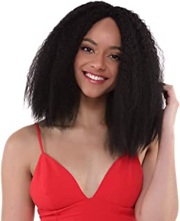 Quick Wig Lace Front Wigs Short Black Kinky Straight Hair Natrual Looking Afro Yaki Fluffy Shoulder Length Wig Heat Resistant Synthetic Daily Cosplay Wigs for Black Women(14