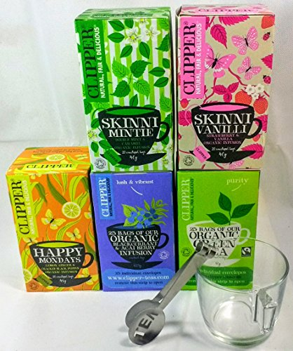 Clipper - Juego de té orgánico de comercio justo, 5 cajas, 110 bolsas de té con sobres, taza de cristal y exprimidor de acero inoxidable